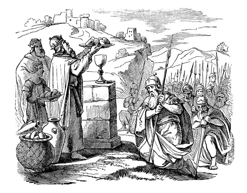 Tappningteckning av den gamla krigaremöteprästen, biblisk berättelse om Abraham och Melchizedek royaltyfri illustrationer