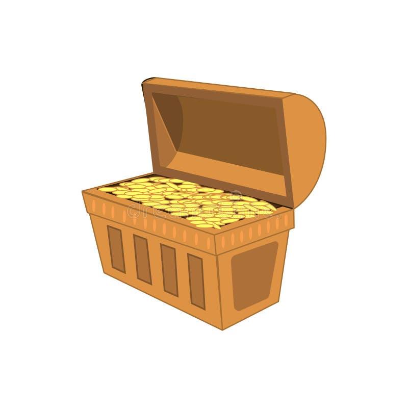 Tappningträbröstkorg med den guld- myntillustrationen som isoleras på vit bakgrund EPS10 illustration vektor illustrationer