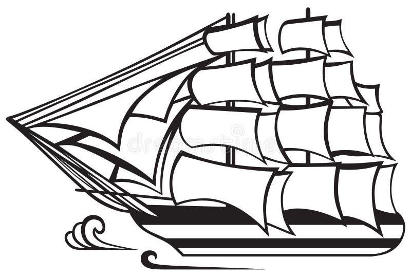 Tappningträhögväxt skepp royaltyfri illustrationer