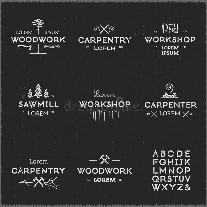 Tappningträverklogotyper stock illustrationer