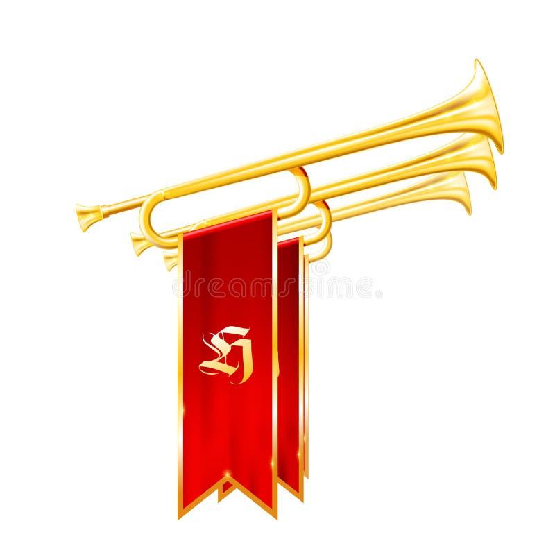 Tappningtrumpeter eller horn med flaggor - fanfar av triumfen royaltyfri illustrationer