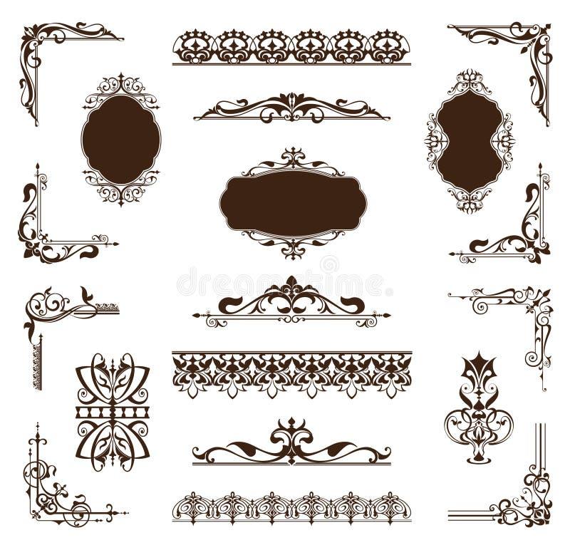 Tappninguppsättning av prydnader och klistermärkear vektor illustrationer