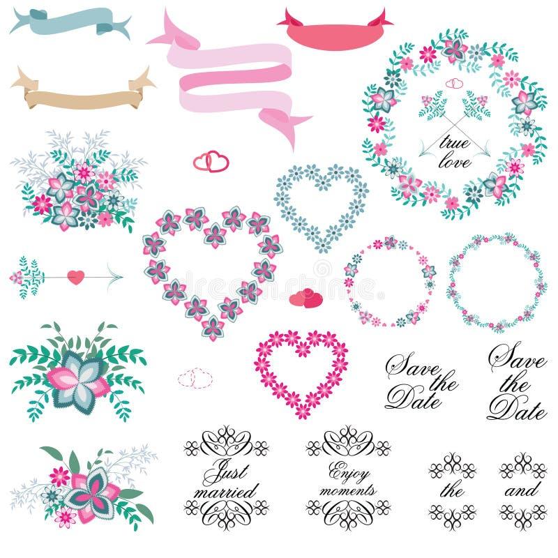 Tappninguppsättning av retro blommor som gifta sig pilar, blom- buketter, kransar, band och etiketter på vit bakgrund stock illustrationer