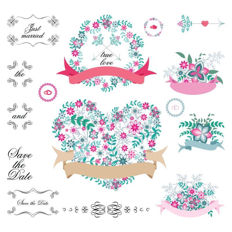 Tappninguppsättning av retro blommor som gifta sig pilar, blom- buketter, kransar, band och etiketter på vit bakgrund vektor illustrationer