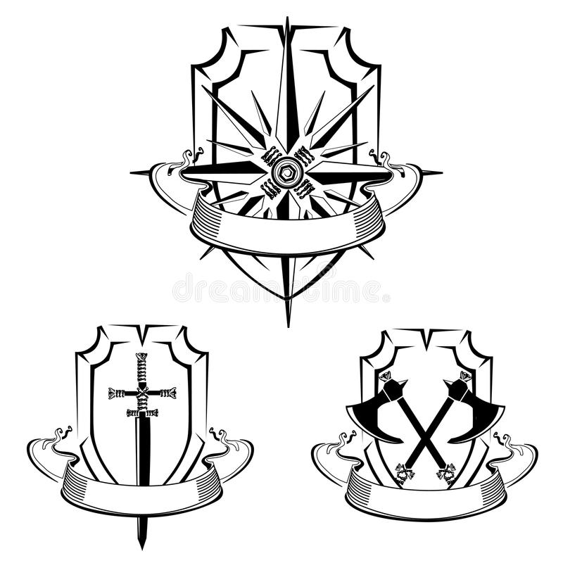 Tappninguppsättningen av sköldar med en vind steg, svärdet och yxor royaltyfri illustrationer