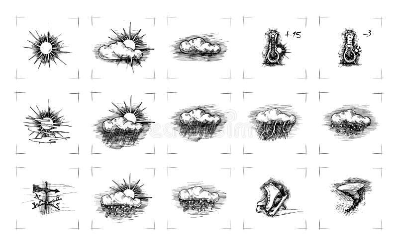 Tappningvädersymboler stock illustrationer