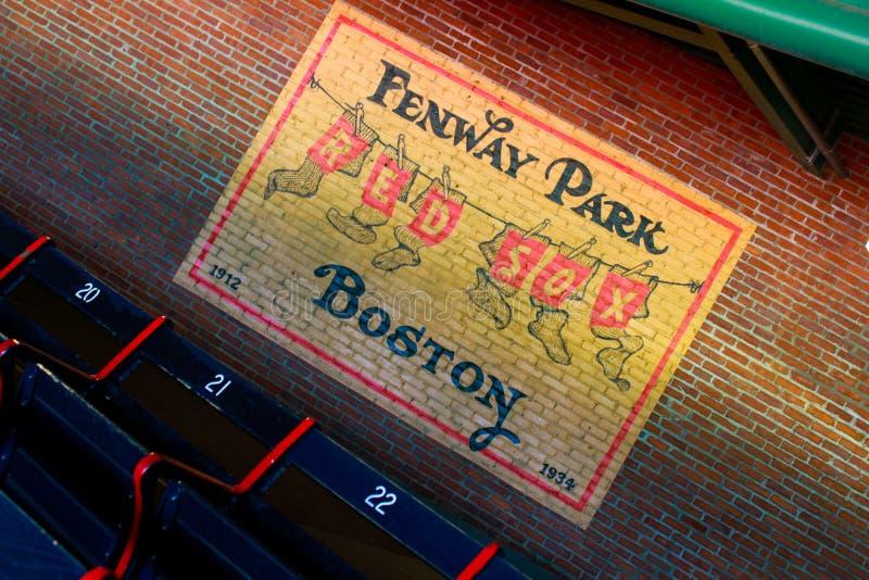 Tappningväggtecken på Fenway Park, Boston, MOR royaltyfria bilder