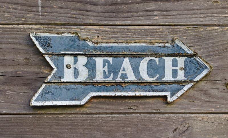 Tappningvägvisare på en trävägg som säger `-strand`, arkivbilder