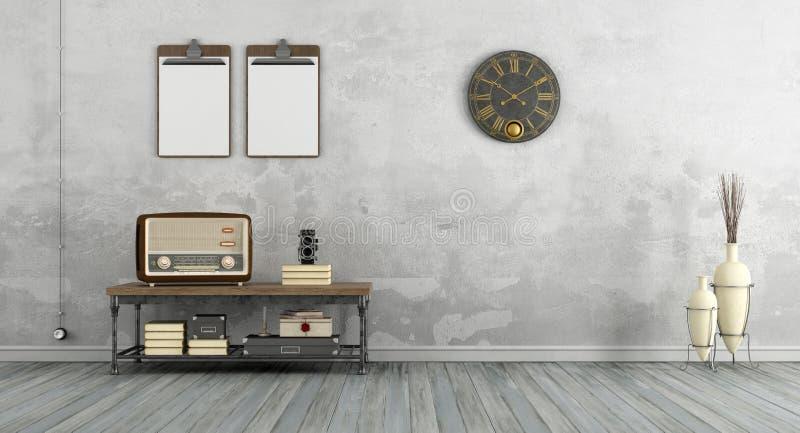 Tappningvardagsrum med den gamla radion royaltyfri illustrationer