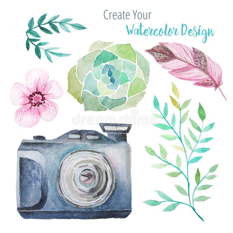 Tappningvattenfärgkamera och blom- beståndsdelar stock illustrationer