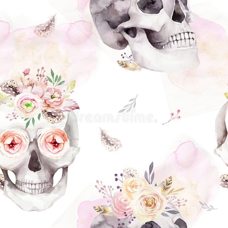Tappningvattenfärgmodeller med skallen och rosor, vildblommor, hand dragen illustration i bohostil Blom- skalle royaltyfri illustrationer