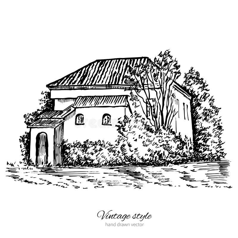 Tappningvektorn skissar det gamla europeiska huset för tegelplattan, herrgården, den knapphändiga linjen konst som för historisk  vektor illustrationer