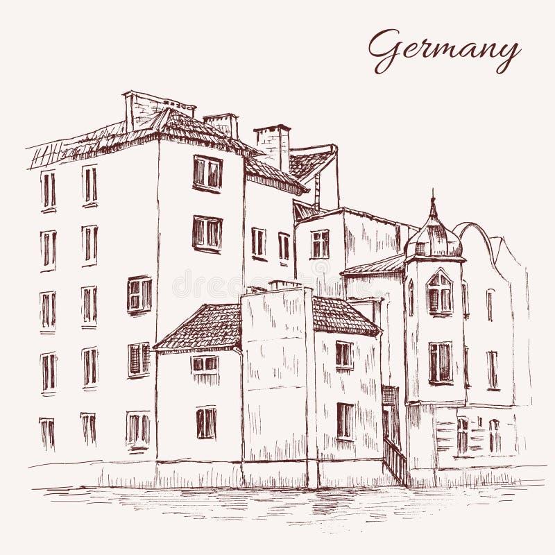 Tappningvektorn skissar gamla hus för tegelplattan, Europa, den knapphändiga linjen konst, retro grungestil för det historiska by royaltyfri illustrationer