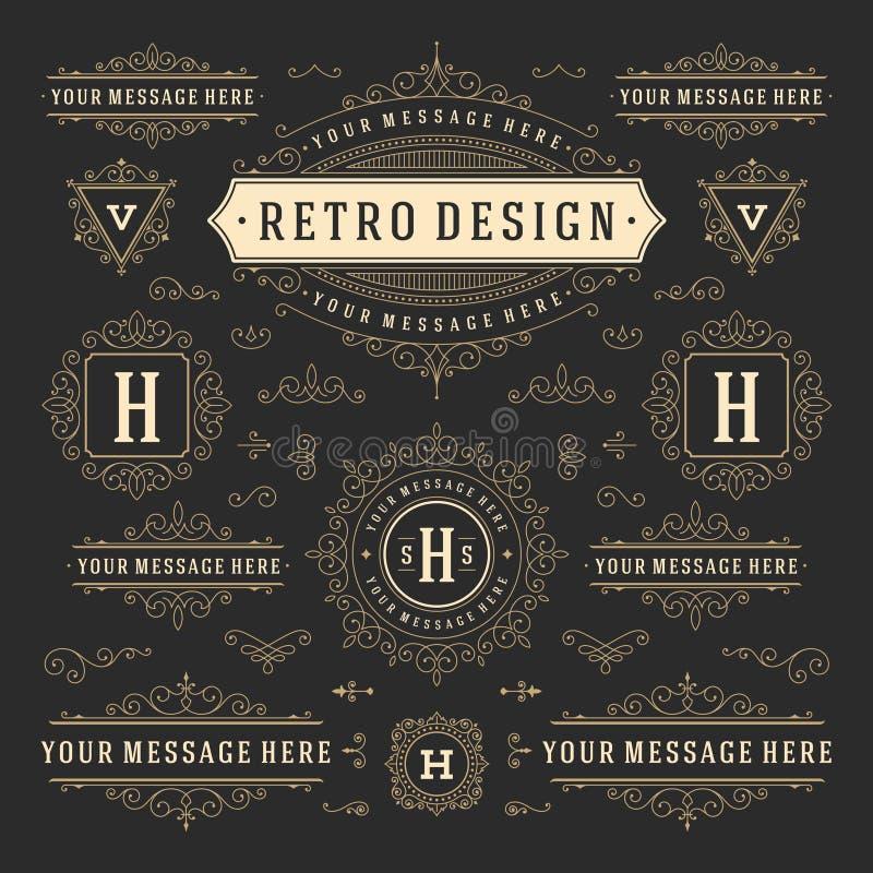Tappningvektorn smyckar garneringdesign stock illustrationer