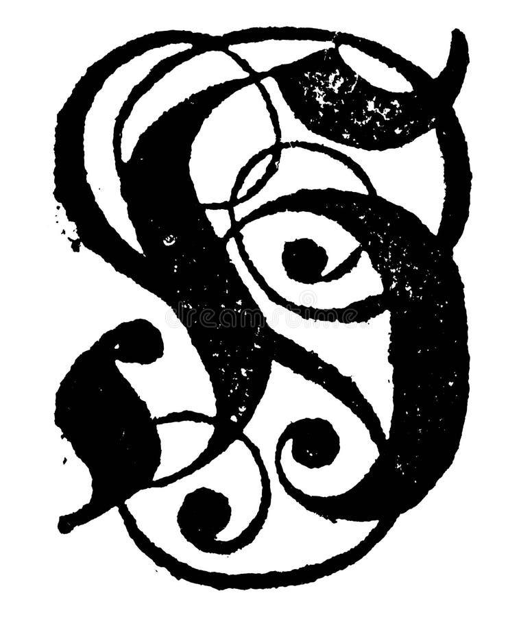 Tappningvektorteckning eller gravyr av antikt dekorativt versalH med prydnader stock illustrationer