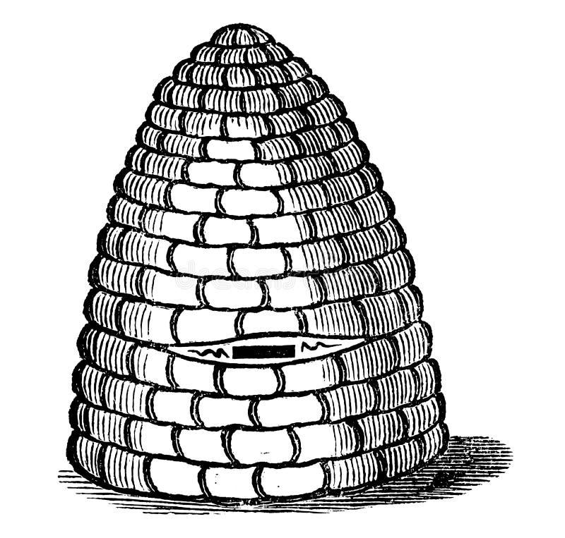 Tappningvektorteckning eller gravyr av den antika den bibikupan eller bikupan för gammal stil som göras från sugrör royaltyfri illustrationer