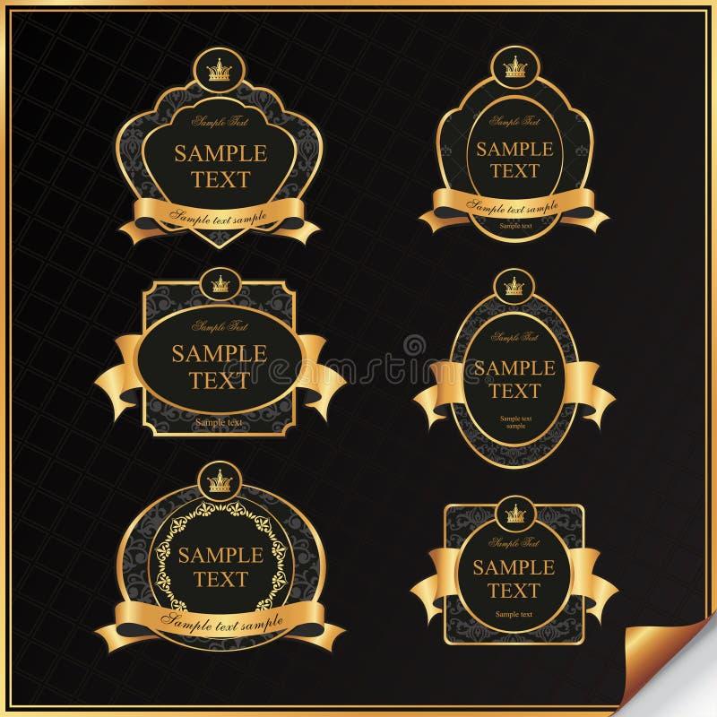 Tappningvektoruppsättningen av svarten inramar etiketten med guld-   arkivbild