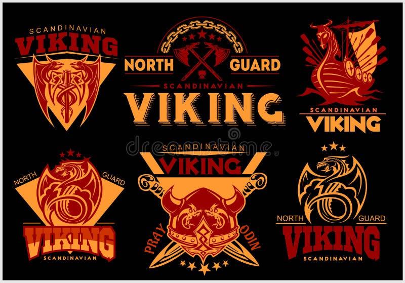 Tappningviking emblem ställde in med scandinavian beståndsdelar på mörk bakgrund stock illustrationer