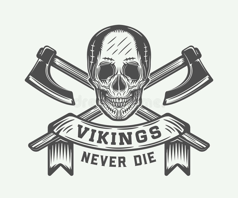 Tappningvikings motivational logo, emblem, emblem i retro stil royaltyfri illustrationer