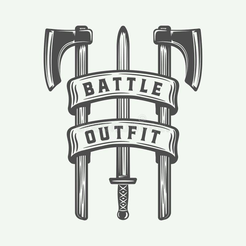 Tappningvikings motivational logo, etikett, emblem, emblem I royaltyfri illustrationer