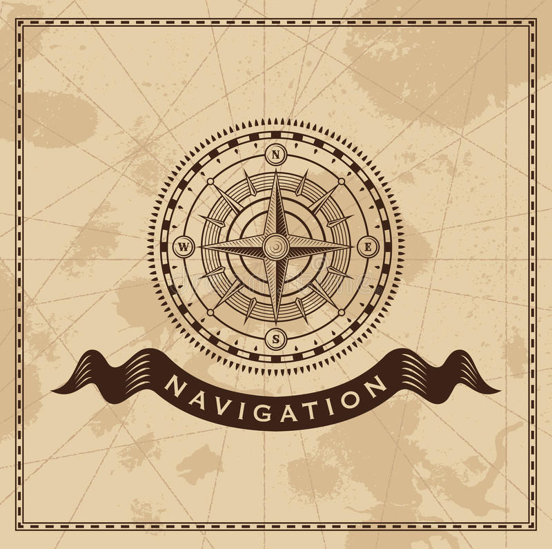 Tappningvind Rose Nautical Compass stock illustrationer