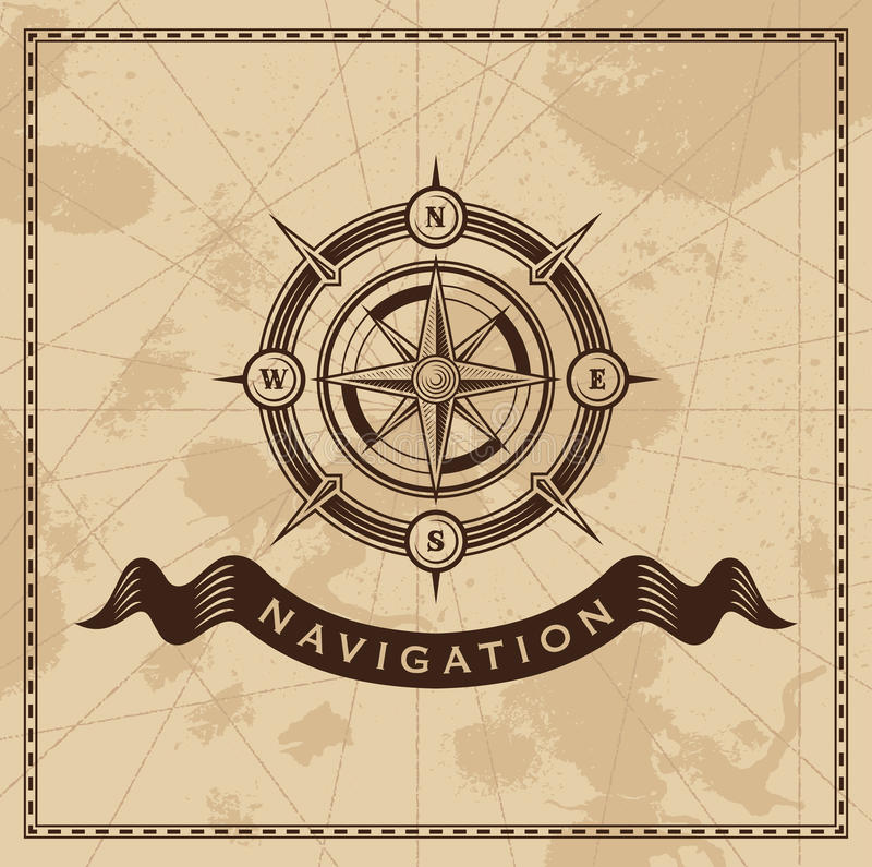 Tappningvind Rose Nautical Compass royaltyfri illustrationer