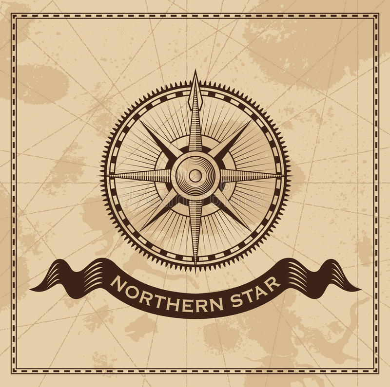 Tappningvind Rose Nautical Compass stock illustrationer
