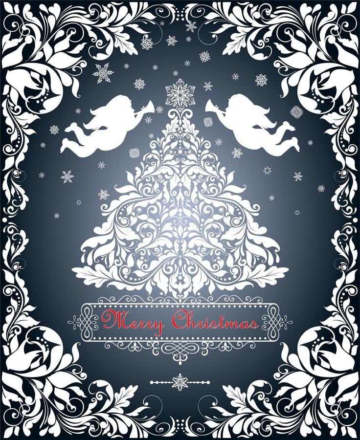Tappningvitbokklipp med jul klippte ut granträdet, snöflingor, änglar och dekorerade den blom- gränsen stock illustrationer
