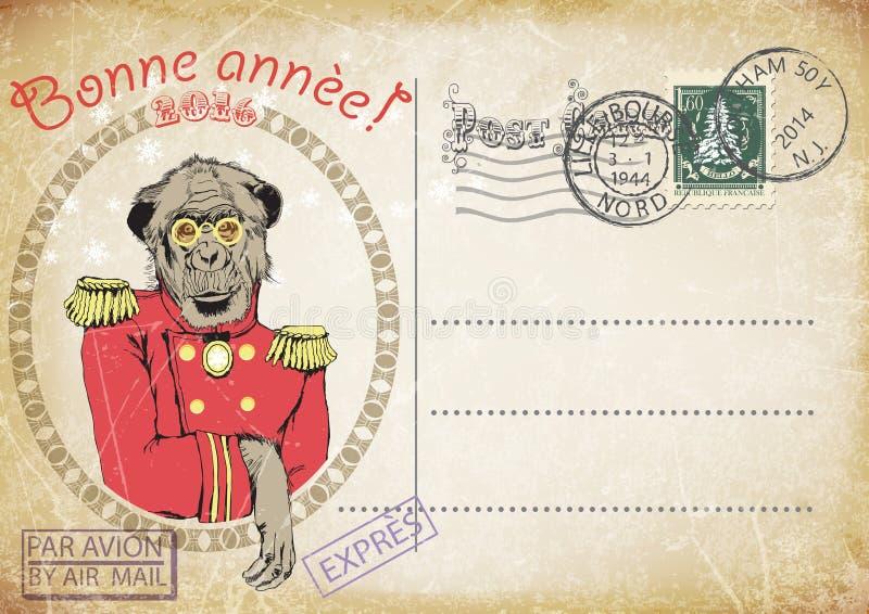 Tappningvykort, handteckning av apan royaltyfri illustrationer