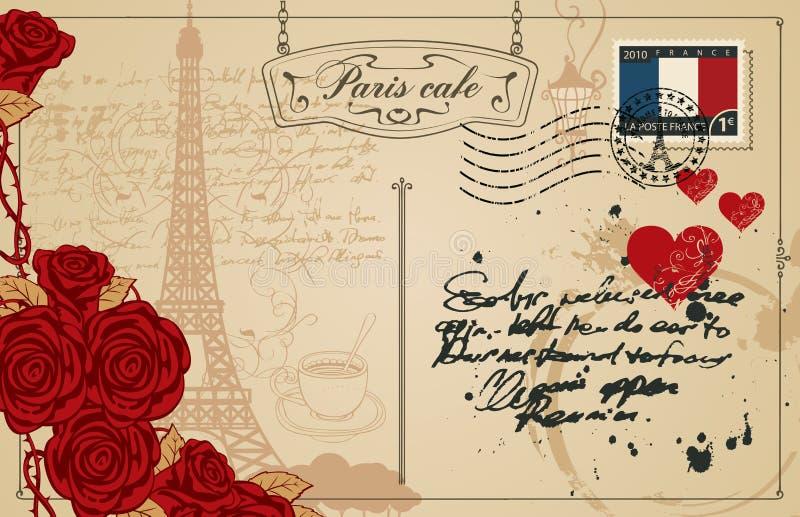 Tappningvykort med Eiffeltorn i Paris stock illustrationer