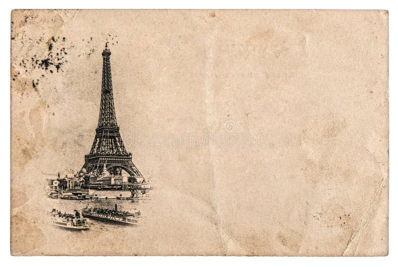 Tappningvykort med Eiffeltorn i Paris, Frankrike arkivfoton