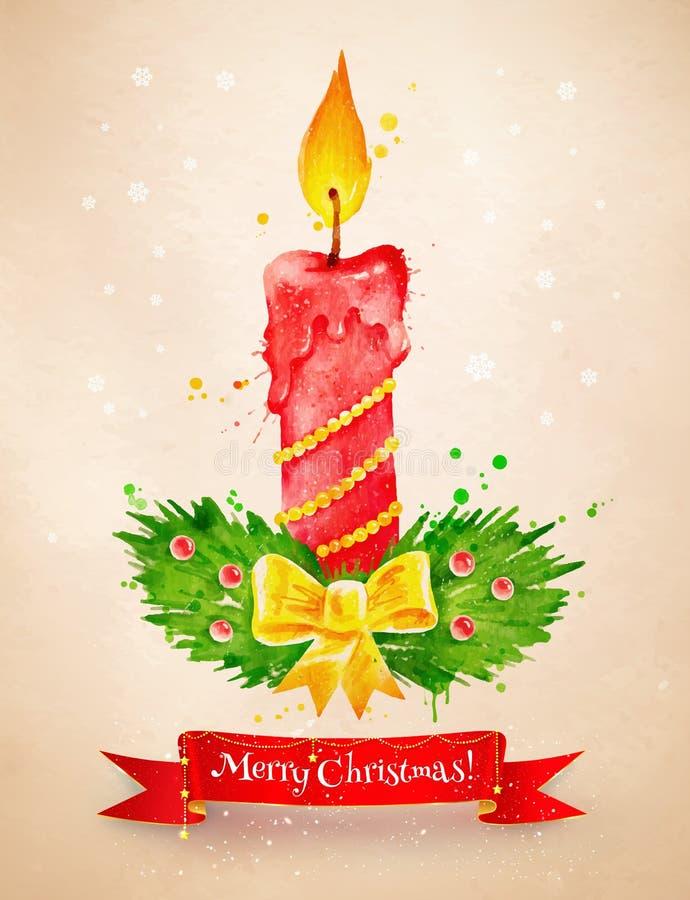 Tappningvykort med julljuset stock illustrationer