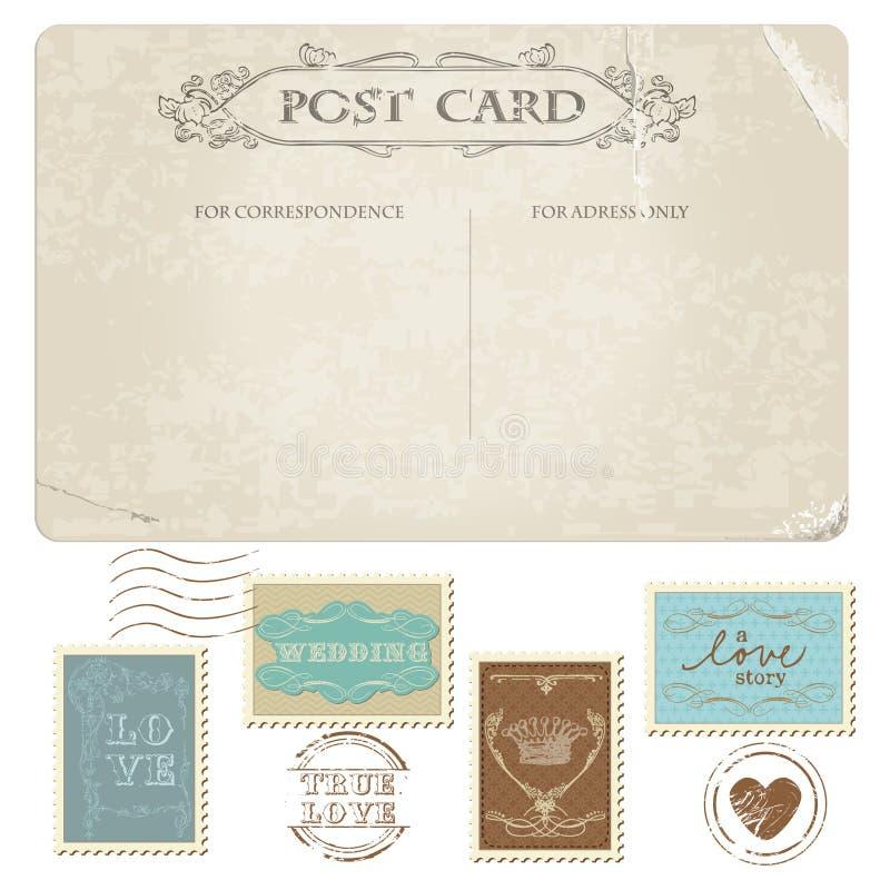 Tappningvykort- och portostämplar royaltyfri illustrationer