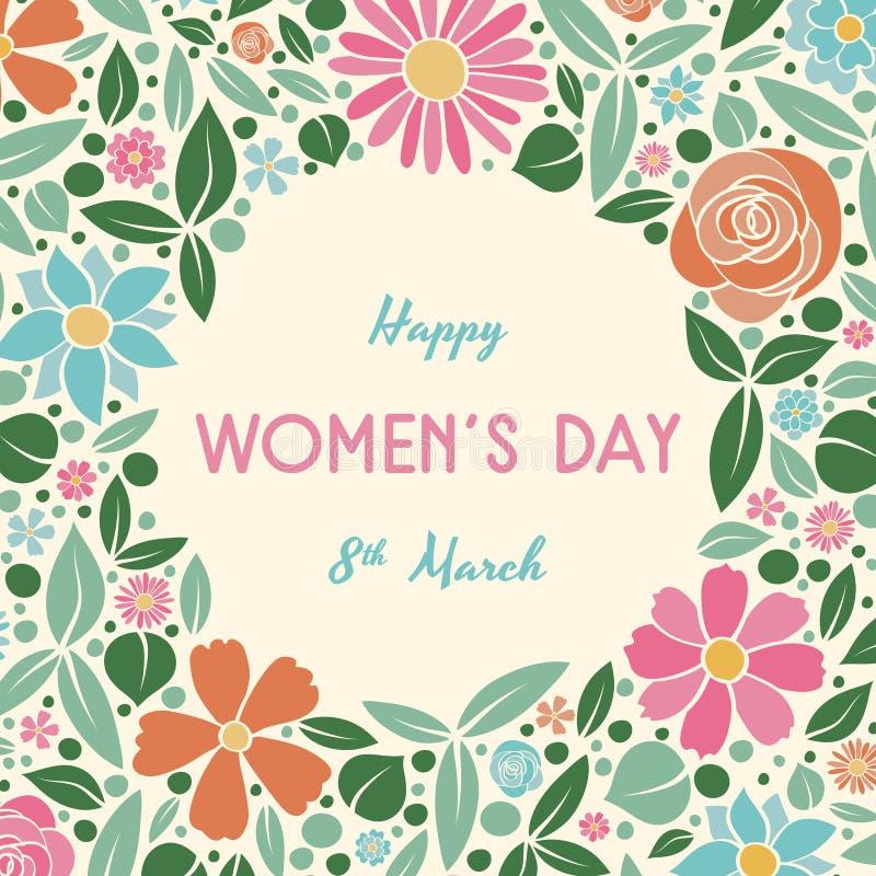 Tappningvykortet med färgad pastell blommar - dag för kvinna` s royaltyfri bild