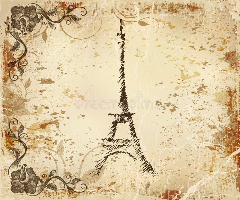 TappningvykortParis Eiffeltorn vektor illustrationer