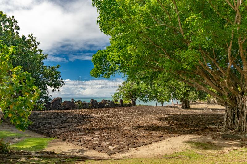 Taputapuatea Marae of Raiatea French polynesia Unesco archeological site. Taputapuatea Marae of Raiatea French polynesia the most important archeological site royalty free stock photo