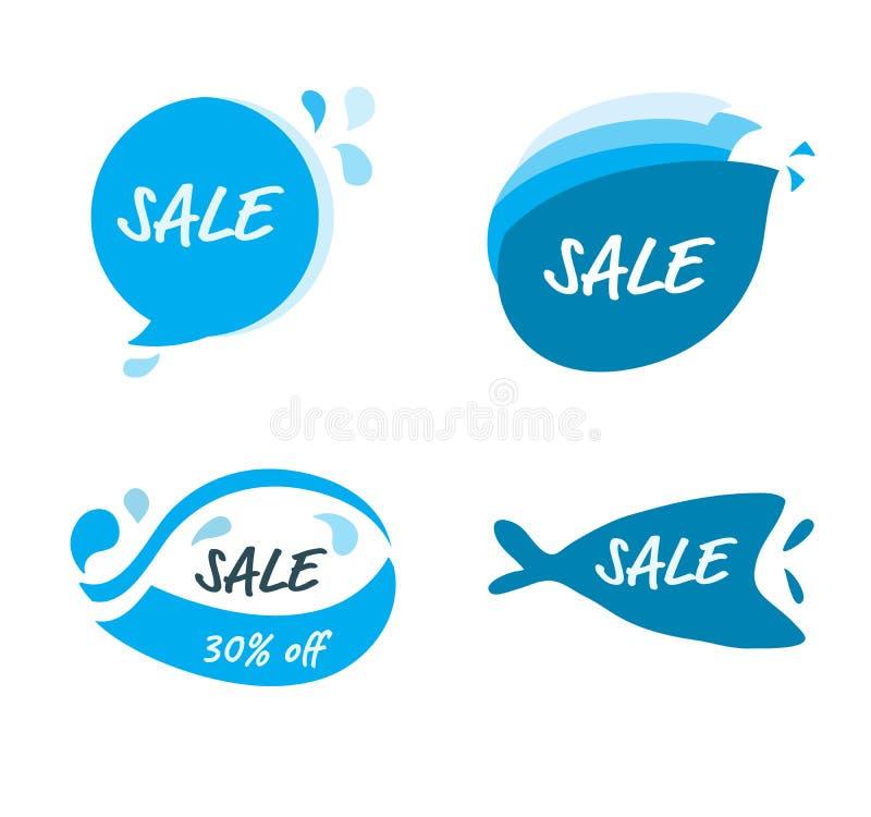 Taq-Fahnen-Logovektor und Elemententwurf für Songkran-Festival-Sommerfestival durch handdraw mit vielen Form blauen Tropfenwasser lizenzfreie abbildung