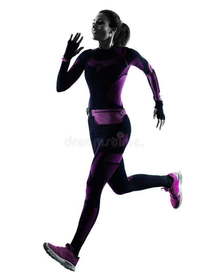 Taqueur courant de coureur de femme pulsant l'ombre d'isolement de silhouette image stock