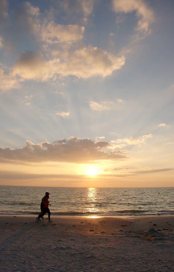 Taqueuses de plage de coucher du soleil image stock