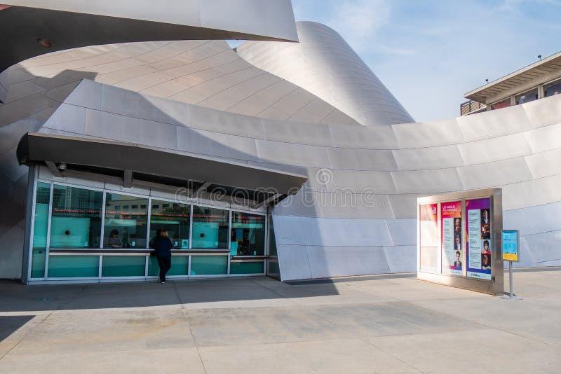 Taquilla en Walt Disney Concert Hall en Los Angeles - CALIFORNIA, los E.E.U.U. - 18 DE MARZO DE 2019 imagen de archivo libre de regalías