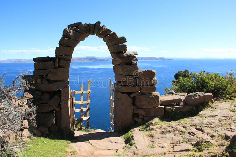 Taquille island, Peru royalty free stock photography