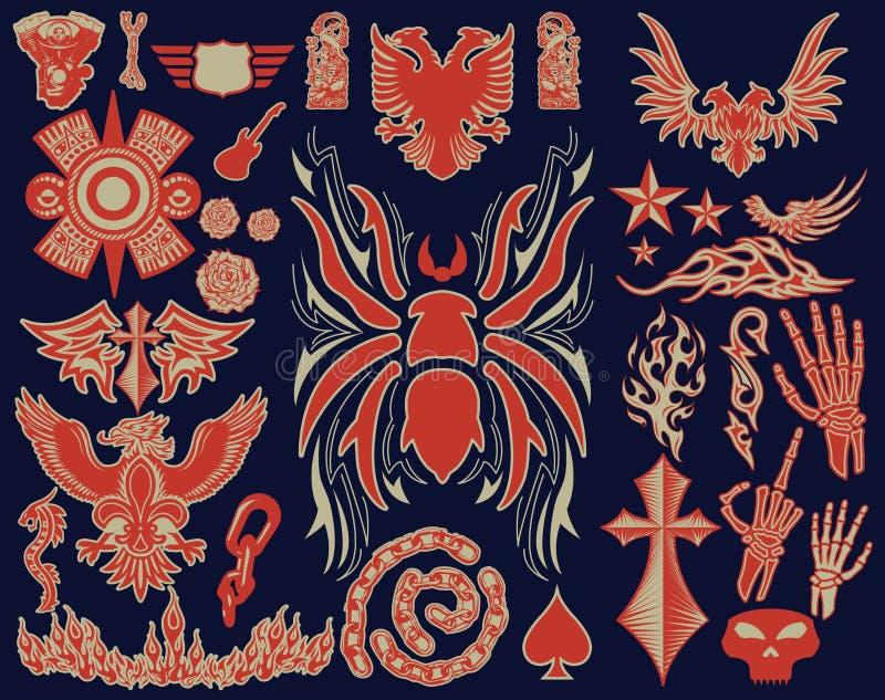 Tarântula da aranha e variedade de coleção tribal do grupo do vetor do projeto dos elementos da tatuagem ilustração do vetor