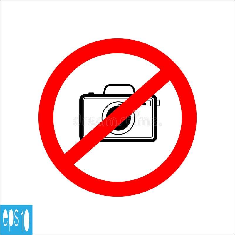Tar den svarta förböd symboler för färgfotoet kameran, tecken, inte fotoet - vektorillustration stock illustrationer