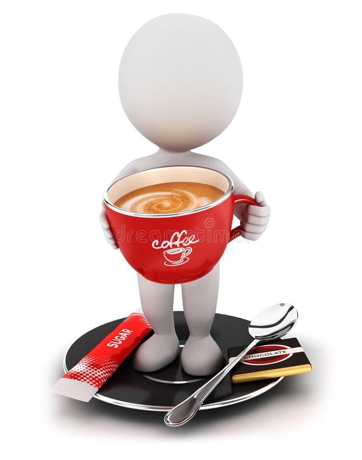 tar det vita folket 3d ett kaffeavbrott vektor illustrationer