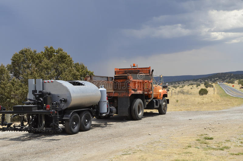 Tar layer. Truck towing a tar layer during road maintenance and construction in New Mexico royalty free stock photography