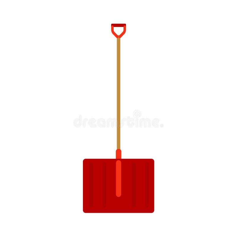 Tar rent rött utomhus- snöfall bort för snöskyffeln pik Väg för gata för trottoar för symbol för Manuall handtagvektor Utrustning royaltyfri illustrationer