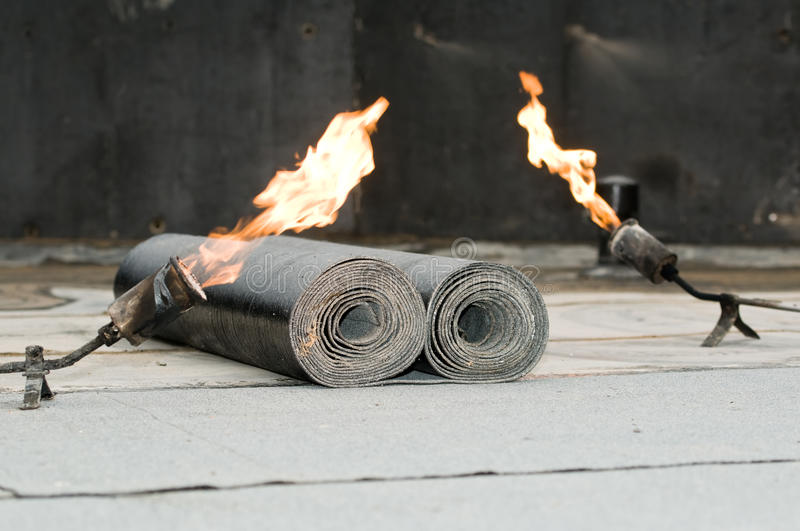 Download Tar Roofing Felt Roll And Blowpipe Stock Image - Image: 17099531