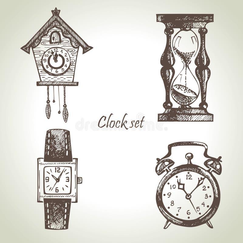 Tar tid på och klockor, fastställda illustrationer royaltyfri illustrationer