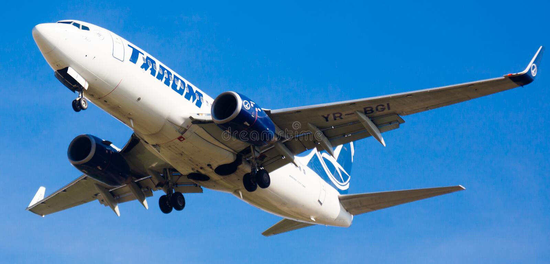 Tara linii lotniczych płaski lądowanie obrazy royalty free