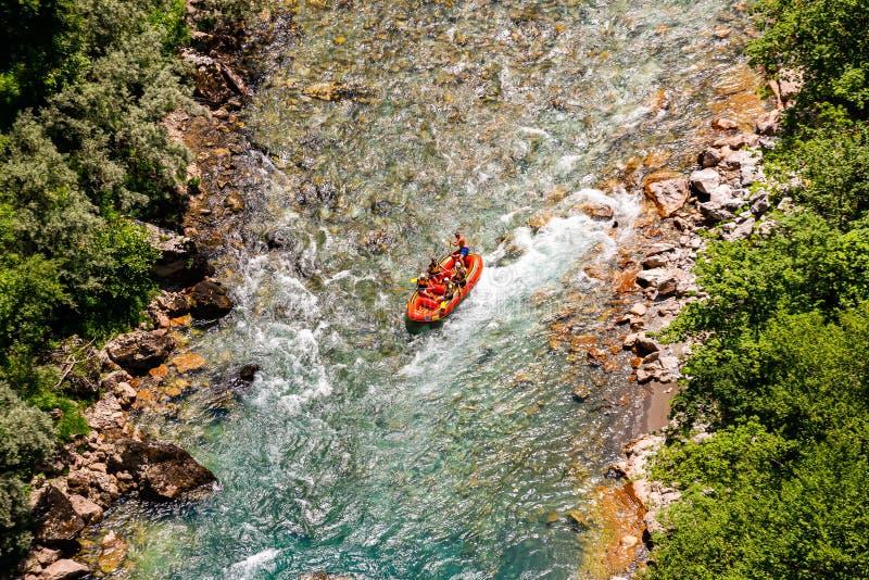 Tara, Montenegro - July 21, 2019. Aerial view of rafting on river Tara, Montenegro, Durmitor royalty free stock photos
